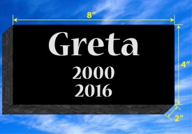 "#1084L Pet Marker Black Granite All Laser Etched Letters & Photo Size 8"" long X 4 wide X 2"" thick"