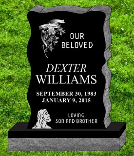 "#1233 Elite Black  Granite Upright Engraved Letters & Laser Etched add Love ones Photo  34"" L x 6"" W x 42"" H"