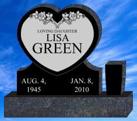 "#1293 Elite Heart Black Granite Upright Engraved Letters & Laser Etched 36"" L x 6"" W x 32"" H"