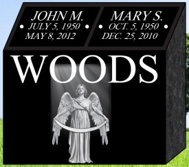 "#1310L Black Cremation Pillar All Laser Etched Letters & Photos of Loved One 18"" L x 9"" W x 18"" H"