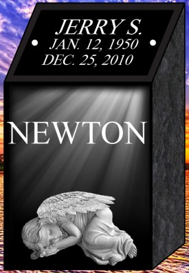 "#1311A Black Cremation Pillar Engraved Letters & Laser Etched Photos of Loved One 10"" L x 9"" W x 18"" H"