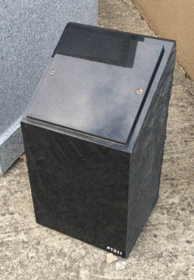"#1311 Black Cremation Pillar 10"" Long X 9"" Thick X 18"" Tall  comes with engraving"