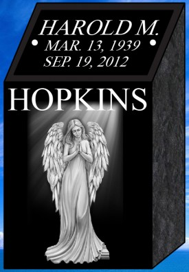 "#1311L Black Cremation Pillar All Laser Etched Letters & Photos of Loved One 10"" L x 9"" W x 18"" H"
