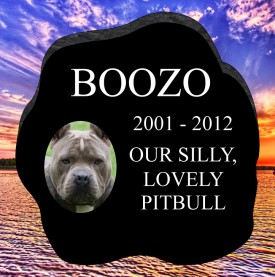 "#2431L Pet Marker Black Granite All Laser Etched Letters & Photo Size 12"" long X 12"" wide X 2"" thick"