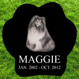 "#2723L Pet Marker Black Granite All Laser Etched Letters & Photo Size 10"" long X 10"" wide X 2"" thick"