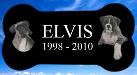 "#2726L Pet Marker Black Granite All Laser Etched Letters & Photo Size 12"" long X 6"" wide X 2"" thick"