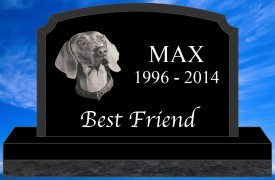 "#2729L Pet Upright Black Granite All Laser Etched Letters & Photo Size 16"" long X 4"" thick X 10"" tall"