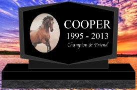 "#2730L Pet Upright Black Granite All Laser Etched Letters & Photo Size 16"" long X 4"" thick X 10"" tall"