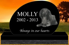 "#2731L Pet Upright Black Granite All Laser Etched Letters & Photo Size 16"" long X 4"" thick X 10"" tall"