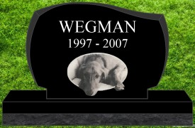 "#2732L Pet Upright Black Granite All Laser Etched Letters & Photo Size 16"" long X 4"" thick X 10"" tall"