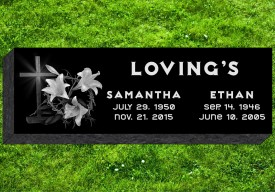 "#290L Companion Black Granite Grassermarker All Laser Etched Letters & Photo Size  36"" L 12"" W x 4"" H"