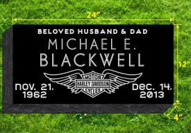 "#308L Black Granite Grassermarker  All Laser Etched  Letters & Images size  24"" L x 12"" W x 4"" H"