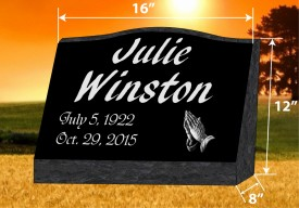 "#476L Black Granite Slant All Laser Etched Letters & Photo Size 16""wide X 8"" thick X 12""tall"