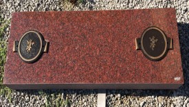 "#551-Ind Clearance Cremains Grassmarker Missouri Red Total size 42"" Long X 4"" Thick X 14"" Tall comes with engraving"