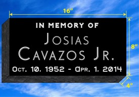 "#679L  Black Granite Grassermarker All Laser Etched Letters & Photo Size 16"" L x 8"" W x 4"" H"