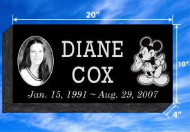 "#680L Black Granite Grassermarker All Laser Etched Letters & Photo Size  20"" Long X 10"" Wide X 4"" Thick"