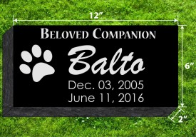 "#871L  Pet Marker Black Granite All Laser Etched Letters & Photo Size 12"" long X 6"" wide X 2"" thick"