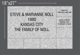 "#2937 Paver NSDKC Donor level #4 18""x27"" 25 Characters 5 Rows 1-1/2"" tall letters $5000.00"